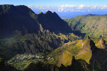 HMS0865707 Reunion island (French overseas department), Parc National de La Reunion (Reunion National Park), listed as World Heritage by UNESCO, Cirque of Cilaos, village of Palmiste rouge (aerial view)