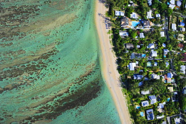 Reunion Island (French overseas department), West Coast, Saint Gilles les Bains lagoon at l'Ermitage les Bains (aerial view)