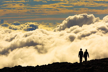 HMS1771105 Reunion island (French overseas department), Parc National de La Reunion (Reunion National Park), listed as World Heritage by UNESCO, Sainte Rose, Piton de la Fournaise, tourist hiking, horizontal vie...