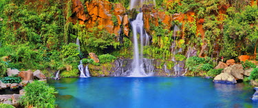 HMS1771127 Reunion island (French overseas department), Cirque de Cilaos, listed as World Heritage by UNESCO, Saint Paul, Saint Gilles, Bassins des Aigrettes, panoramic view of several waterfalls flowing into a...