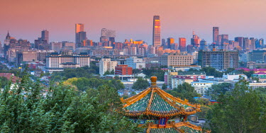 CN01377 China, Beijing, Jingshan Park, Pavillion and Modern Chaoyang District skyline beyond