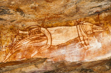AR4892500002 Aboriginal rock art site near Gamargawan, in the Warddeken Indigenous Protected Area, Australia.  Warddeken adjoins Kakadu National Park in the Northern Territory.