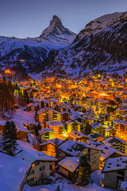 Night skyline with Matterhorn behind, Zermatt, Wallis or Valais, Switzerland