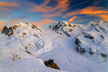Monte Rosa and Gorner glacier at sunset, Zermatt, Wallis or Valais, Switzerland