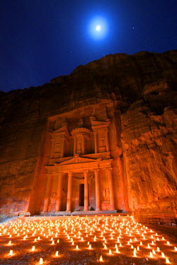 JD01356 Treasury Lit By Candles At Night, Petra, Jordan, Middle East