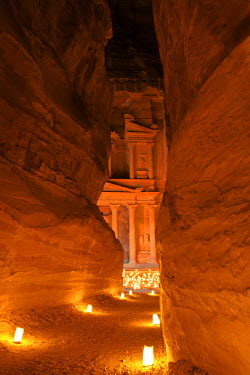 JD01358 Treasury Lit By Candles At Night, Petra, Jordan, Middle East