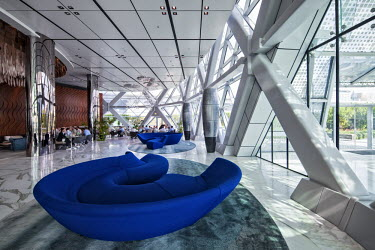 UAE0207 Lobby Interior of the Capital Gate Hotel, designed by the architects RMJM Dubai located in Al Safarat, Abu Dhabi, United Arab Emirates