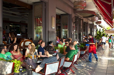 Greece, Macedonia, Thessaloniki, historical relics rub modern cafes frequented by the gilded youth