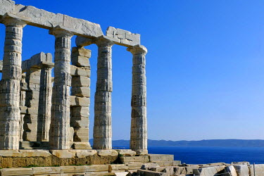 Greece, Attica, Cape Sounion, the ruins of the temple of Poseidon, built in the middle of the 5th century BC