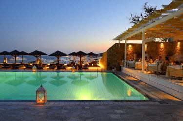 HMS1673112 Greece, Cyclades islands, Mykonos island, village of Platis Gialos, Relais & Chateaux hotel Myconian Ambassador Thalasso Spa