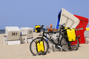 GER8018AW Beach chairs, Wenningstedt, Sylt, Friesland,  Schleswig-Holstein, Germany