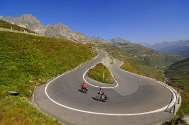 SWI7418AW Biking at Furka, Uri, Switzerland (MR)