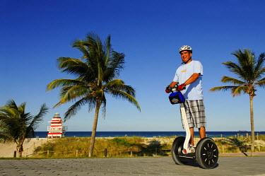 USA9145AW Segway Driver, South Pointe Park, Miami, South Beach, Florida, USA, (MR)