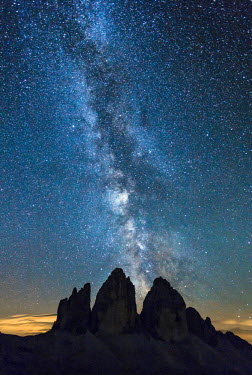 FVG004242 Italy, Veneto, Dolomites, Milky Way above the three peaks of the Lavaredo
