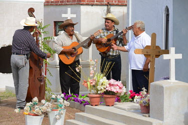 MEX1425AW Mexican Band during Day of the dead at a cemetery, La Paz, Baja California, Mexico