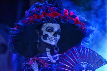 MEX1427AW La Catrina, Day of the dead festivities, La Paz, Baja California, Mexico
