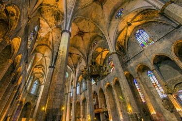 SPA5499AW Interior of Santa Maria del Mar church, Born district, Barcelona, Catalonia, Spain