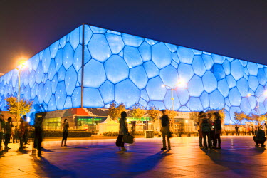 CH10201AW Beijing, China. Olympic park, National Aquatics center at night
