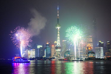 CH10226AW China, Shanghai. Fireworks over Pudong business district