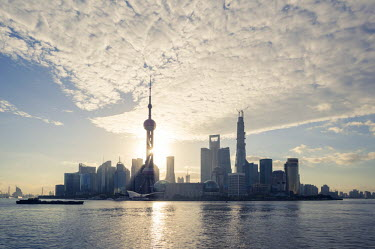 CH10228AW China, Shanghai. Pudong business district cityscape at sunrise