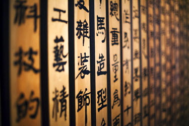CH10280AW Xian, Shaanxi, China. Wooden panels with chinese characters