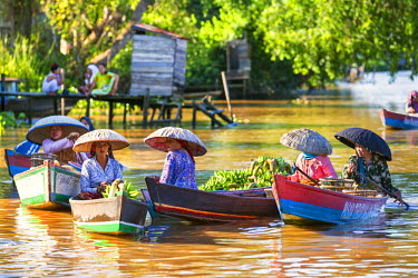 IDA0404 Indonesia, South Kalimatan, Lok Baintan. Women in wide-brimmed hats at a picturesque floating market on the Barito River.