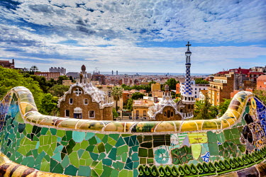 SPA5531AW View from Parc Guell towards city, Barcelona, Catalonia, Spain