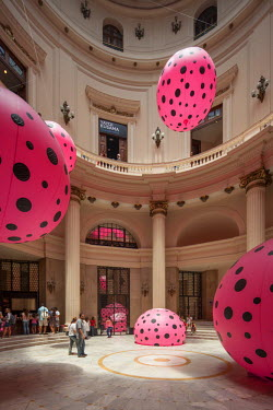 The cultural center of the Bank of Brazil in the center of Rio de Janeiro hosts different exhibitions. The image shows an art installation of the Japanese artist Yayoi Kusama.