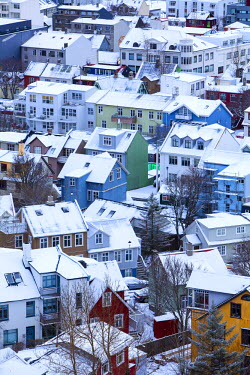 ICE3370 Iceland, Reykjavik. Reykjavik, capital city of Iceland, frozen by winter.