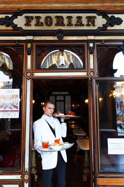 HMS0643670 Italy, Venetia, Venice, listed as World Heritage by UNESCO, waiter of the Florian caf� on the Piazza San Marco