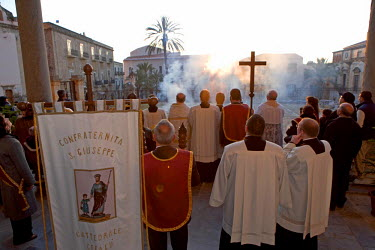 Italy, Sicily, Cefalu, religious ceremony of the San Giuseppe (Saint Joseph) Brotherhood in the cathedral