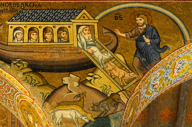 HMS0495409 Italy, Sicily, Palermo, Palazzo dei normanni (Palace of the normans), Capella Palatina (Palatine chapel), Noah's ark