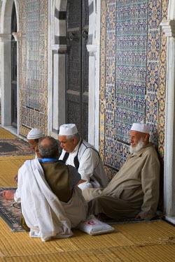 AF55CCE0420 Tripoli, Libya. Old Men Talking, Karamanli Mosque, 18th Century.
