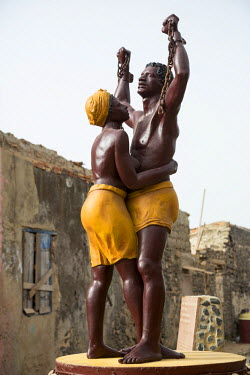 AF38CCE0610 Statue Commemorating the End of Slavery, Goree Island, Senegal.