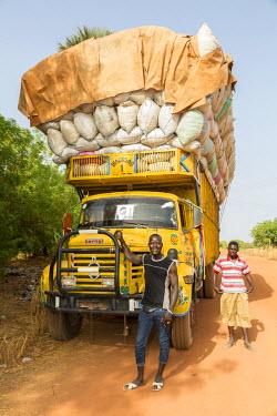 AF38CCE0197 Heavily-loaded Truck Carrying Peanuts, near Sokone, Senegal.