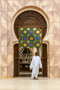 AF38CCE0468 Senegal, Touba. Man Exiting the Grand Mosque.