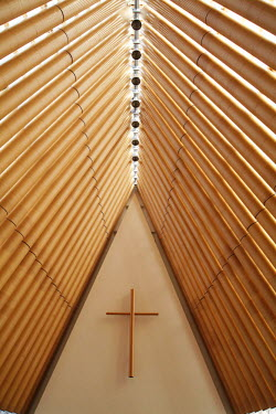 AU02DWA7578 The Cardboard Cathedral (designed by Shigeru Ban), Christchurch, Canterbury, South Island, New Zealand.