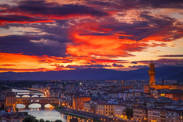 EU16BJN0348 Colorful view over Florence from Piazale Michelangelo, Florence, Tuscany, Italy.