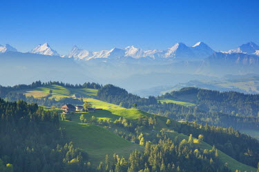 CH03732 Emmental Valley and Swiss alps in the background, Berner Oberland, Switzerland