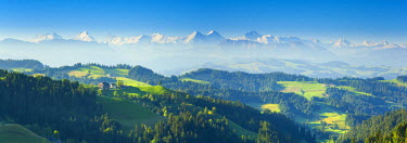 CH03733 Emmental Valley and Swiss alps in the background, Berner Oberland, Switzerland