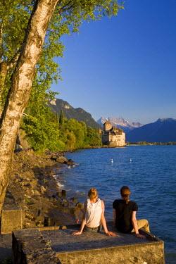 HMS0638258 Switzerland, Canton of Vaud, Lake Geneva, Veytaux, Chillon Castle at South Montreux