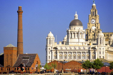 HMS0266615 United Kingdom, Merseyside, Liverpool, among the architectural symbols of the city, the Cunard Building and the tower of the Royal Liver building, listed as World Heritage by UNESCO