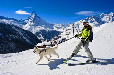Switzerland, Canton of Valais, Zermatt, Findeln hamlet with the Matterhorn in the background