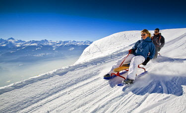 Switzerland, canton of Valais, Crans-Montana, Sledge slope