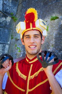 CR07235 Young man in traditional Moreska sword fighting costume, Korcula, Dalmatia, Croatia (MR)