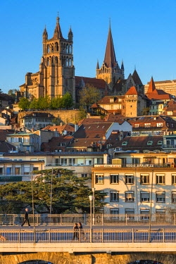 HMS1697661 Switzerland, Canton of Vaud, Lausanne, city center, Notre Dame Cathedral and Grand Gateway Bridge and Europe Plaza
