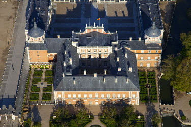 HMS0391440 Spain, Madrid region, Aranjuez, Royal Palace of Aranjuez, home of the King of Spain, listed as World Heritage by UNESCO (aerial view)