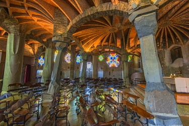 SPA5604AW Interior of the Church of Colonia Guell, Coloma de Cervello, Catalonia, Spain