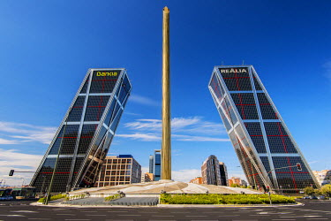 Plaza de Castilla with Puerta de Europa twin towers, Madrid, Comunidad de Madrid, Spain