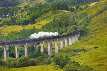 HMS0375866 United Kingdom, Scotland, Highland, The Jacobite Steam Train, better known now as the Harry Potter Train, crossing the viaduct of Glenfinnan